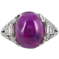 Art Deco Pink Star Sapphire Diamond Platinum Ring