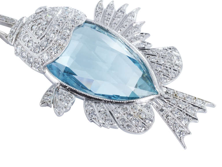21.50 Carat Aquamarine and Diamond Fish Necklace 2