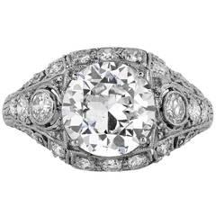 Art Deco 2.40 Carat Old European Diamond Platinum Engagement Ring