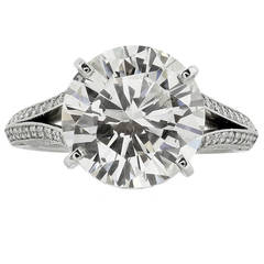 GIA Certified 5.02 Carat Round Brilliant Cut Solitaire Engagement Platinum Ring