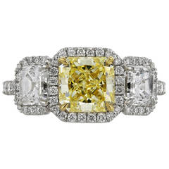 1.87 Carat GIA Certified Fancy Yellow Diamond Platinum Engagement Ring