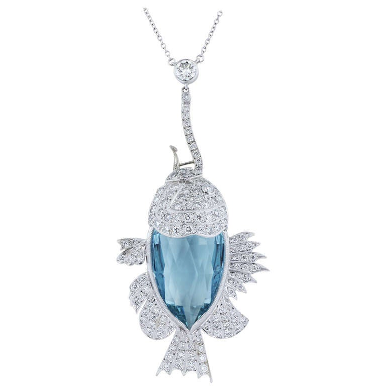 21.50 Carat Aquamarine and Diamond Fish Necklace