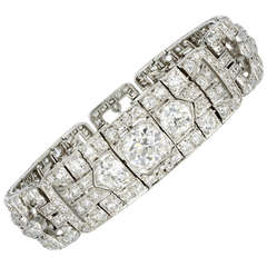 Art Deco 16.00 Carat Old European Cut Diamond Platinum Bracelet