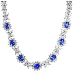 27 Carat Oval Shaped Sapphire and Diamond Cluster Necklace