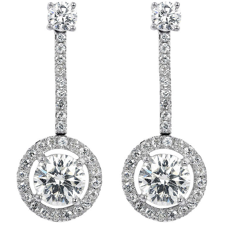 1 85 Carat Diamond Drop Estate Earrings For