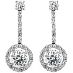 Tiffany & Co. 1.85 Carat Diamond Drop Estate Earrings