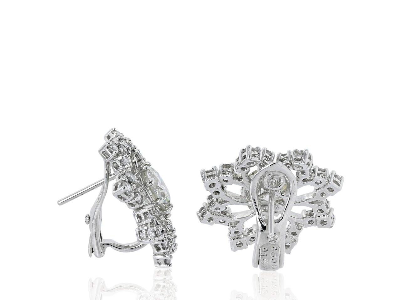 4.61 Carat Diamond Platinum Openwork Snowflake Earrings 2