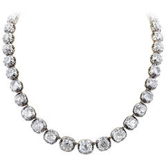 57.00 Carat Antique Cushion Cut Diamond Necklace