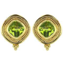 Cushion Cut Peridot Gold Byzantine Style Earrings