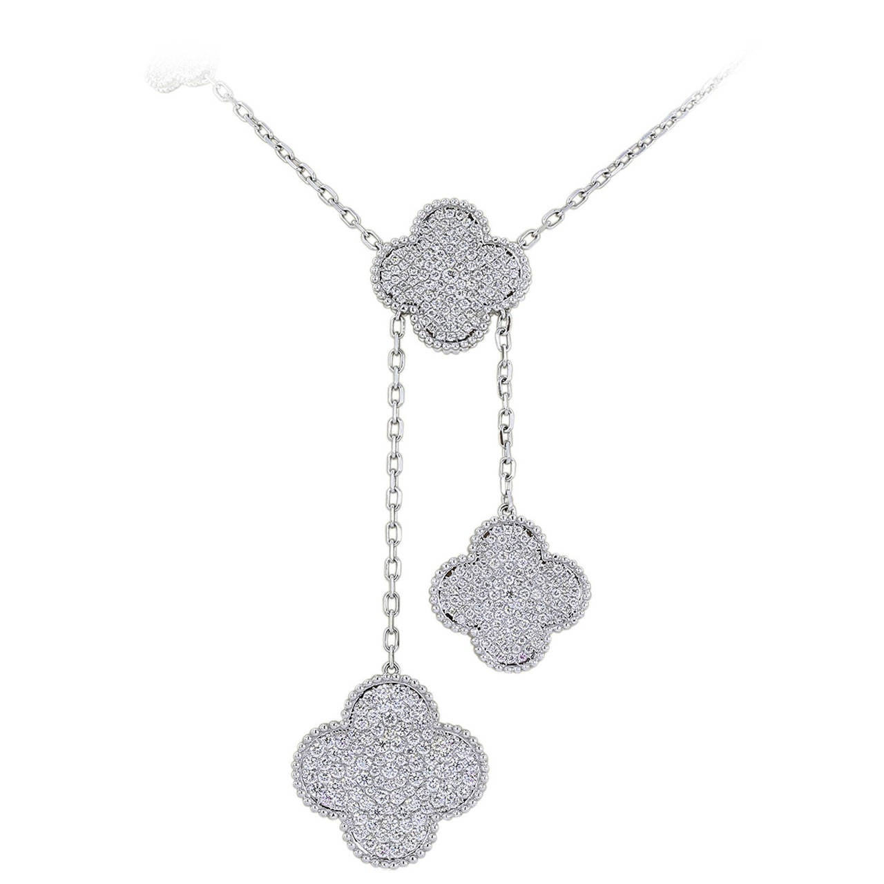 6.64 Carat Quatrefoil Diamond Gold Drop Necklace