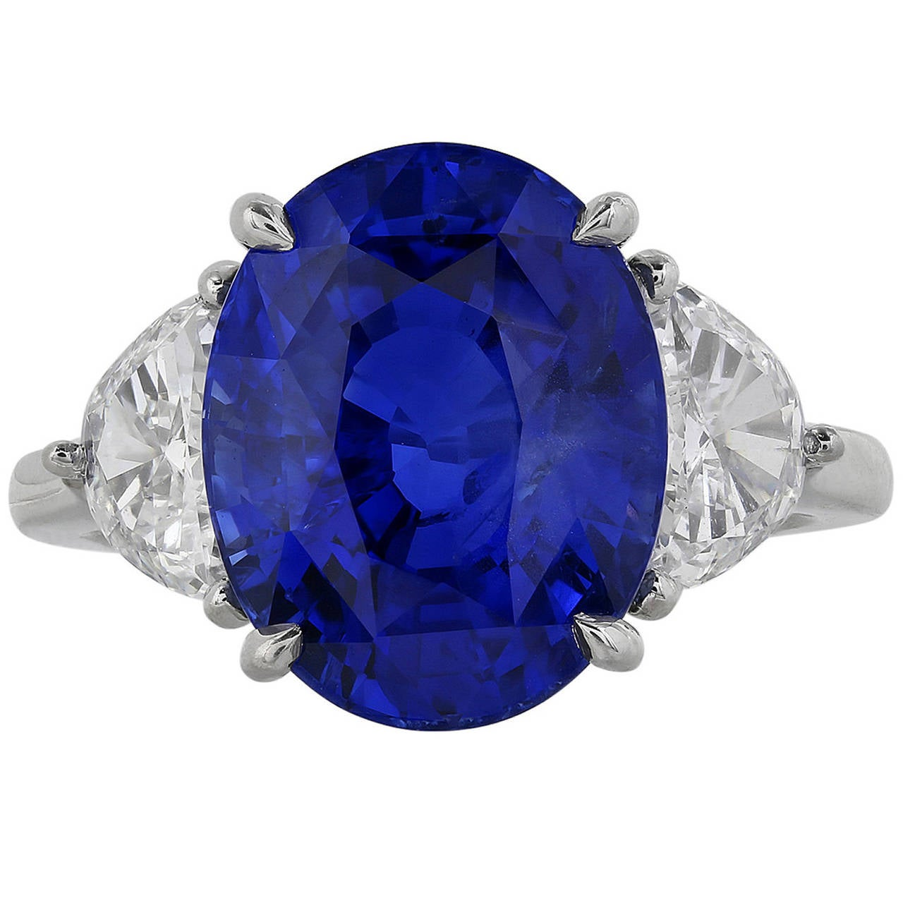 10.08 Carat Unheated Sapphire Diamond Platinum Three Stone Engagement Ring