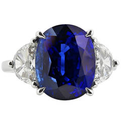 8.45 Carat Ceylon Sapphire Diamond Platinum Three Stone Engagement Ring