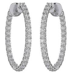 8.05ct Oval Shaped Diamond Hoop Earrings