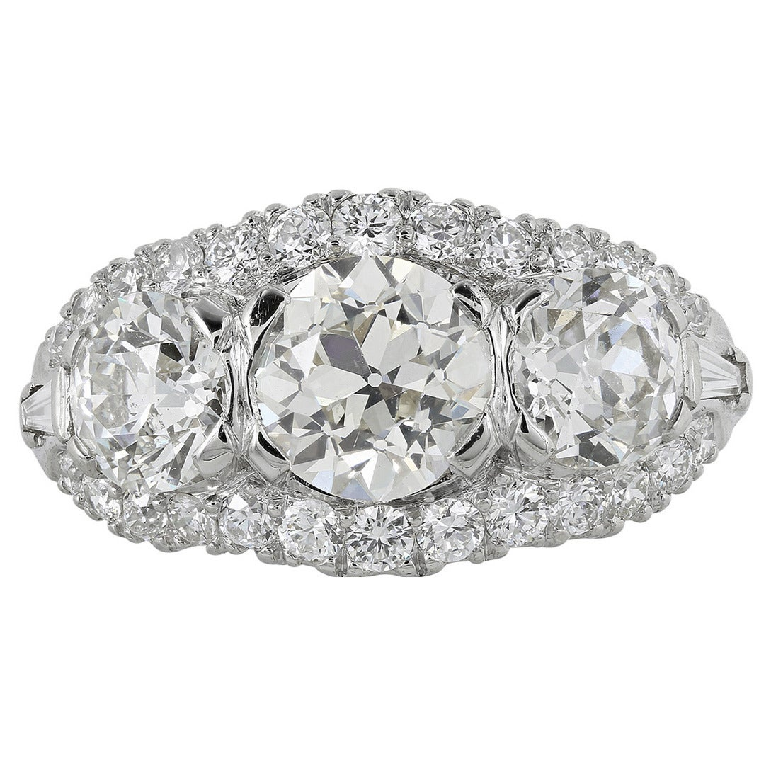 Stones Platinum: 3.05 Carat Old European Diamond Platinum Three-Stone Engagement Ring For Sale At 1stdibs