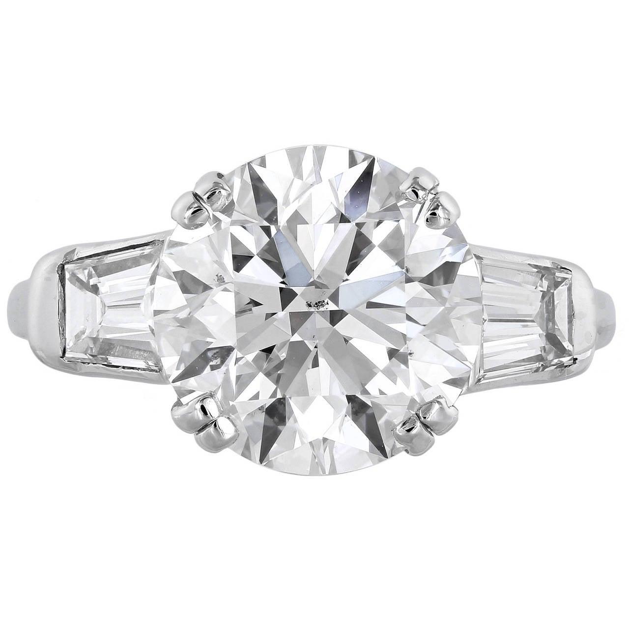 GIA Certified 5.02 I SI1 Brilliant Cut Three-Stone Diamond Engagement Plat Ring