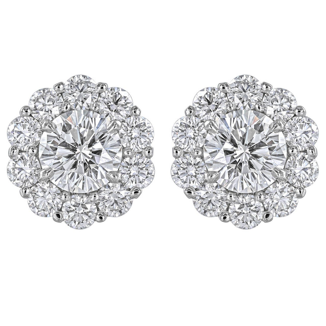 2.40 Carat Round Brilliant GIA Cert Diamond Platinum Cluster Earrings 1