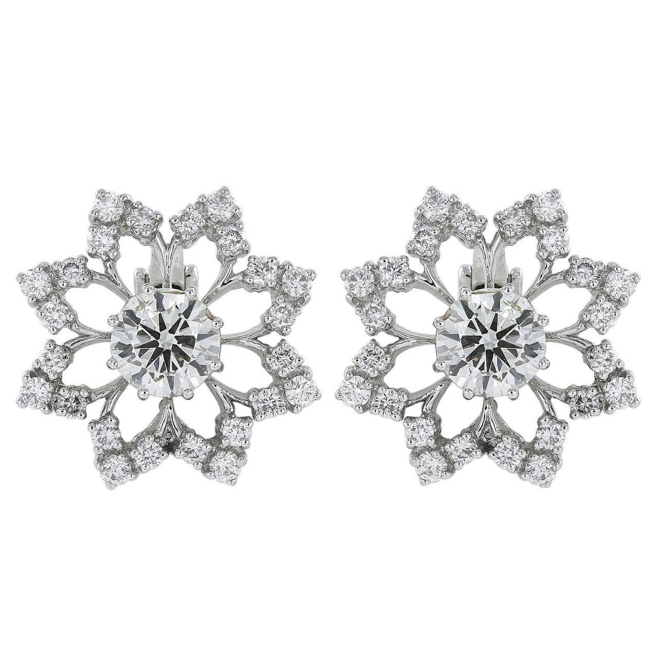 4.61 Carat Diamond Platinum Openwork Snowflake Earrings 1