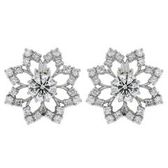 4.61 Carat Diamond Platinum Openwork Snowflake Earrings