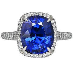 6.24 Carat Cushion Cut Sapphire & Diamond Ring