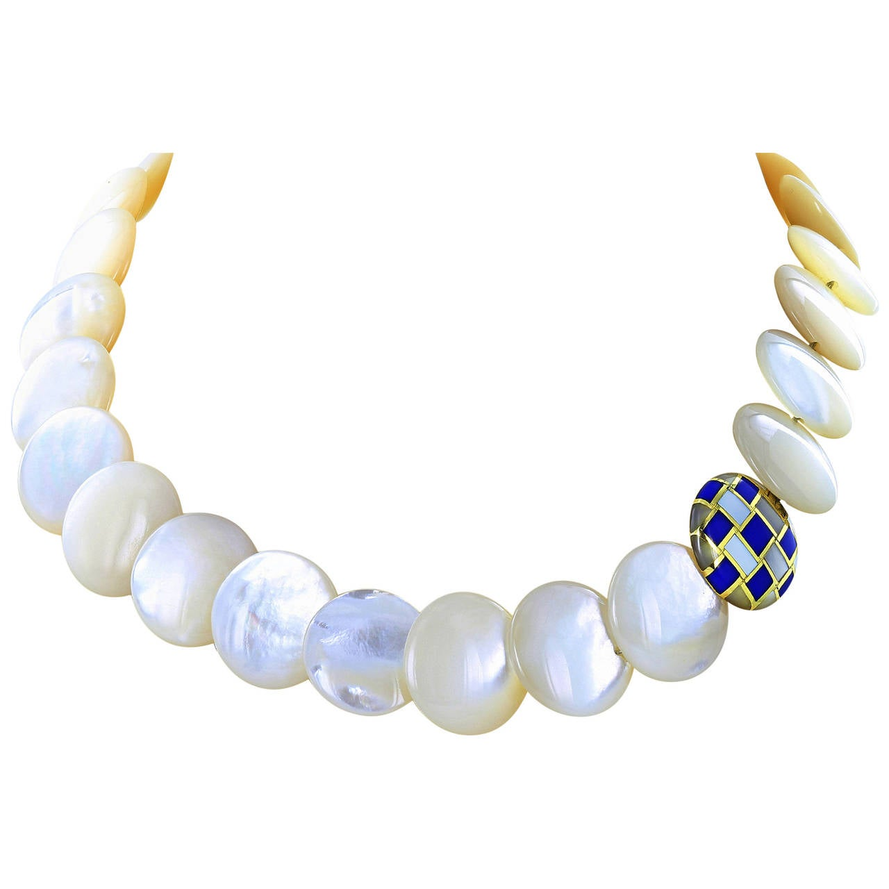 Tiffany & Co. Mother-of-Pearl Lapis Gold Necklace