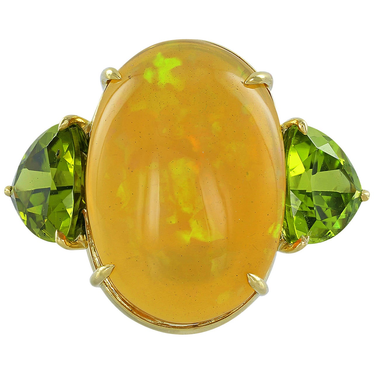 Mexican Fire Opal Diamond Gold Twin Stone Ring For Sale At 1stdibs