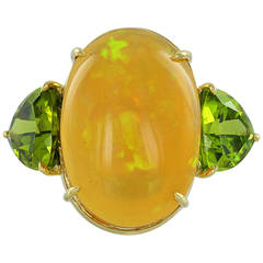 Fire Opal Peridot Gold Three-Stone Cocktail Ring