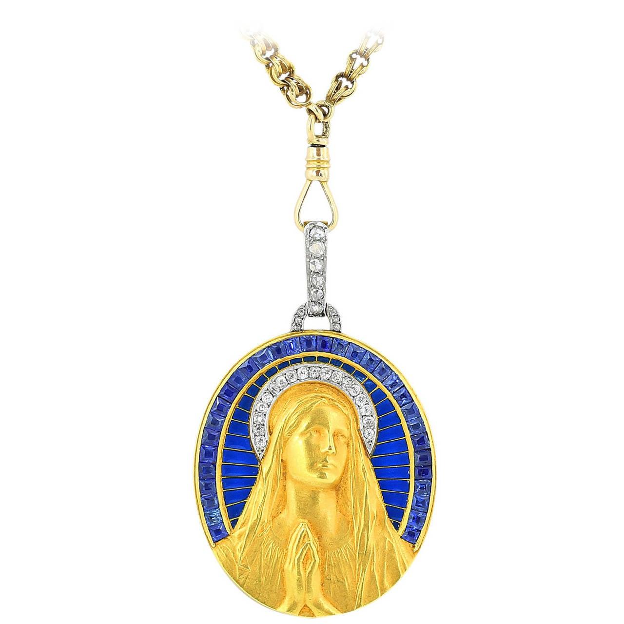 Art Nouveau Plique-a-Jour Sapphire Diamond Gold Medallion Pendant