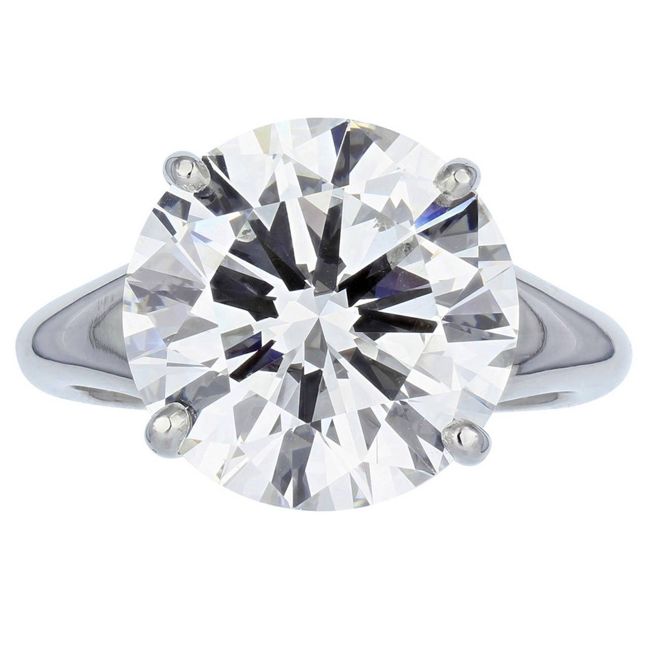 3.22 Carat Round Brilliant F/SI1 GIA Certified Diamond Engagement Platinum Ring