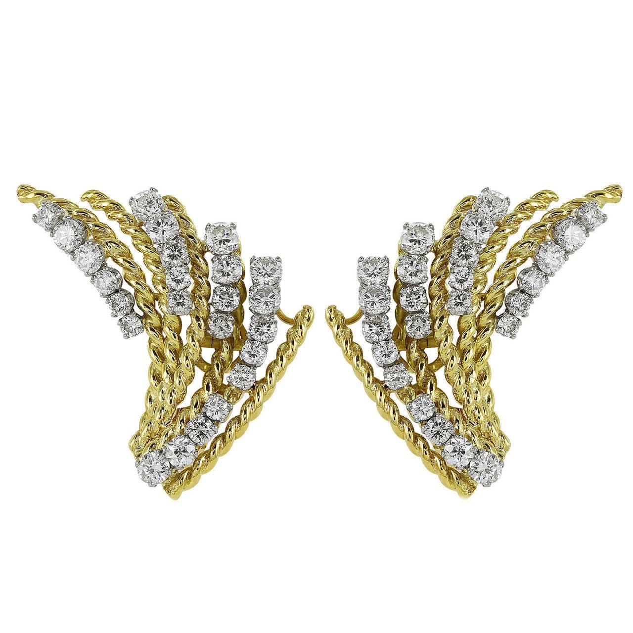 2.50 Carats Diamonds Two Color Gold Fan Clip Earrings