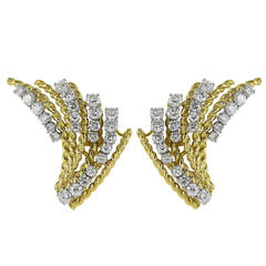 2.50 Carats Diamonds Two Color Gold Fan Clip Earrings