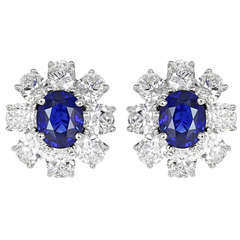 4.20 Carat Sapphire Diamond Cluster Earrings