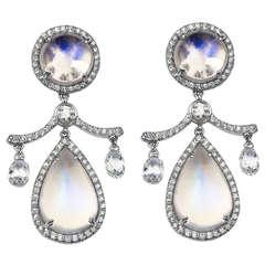 Moonstone Diamond Gold Platinum Drop Earrings