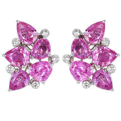 Aletto Brothers 14.20 Carat Pink Sapphire Diamond Clip Earrings