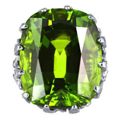 35.23 Carat Peridot Diamond Platinum Ring