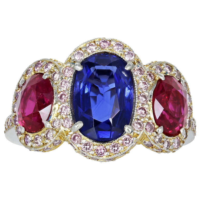 1.70 Carat No Heat Burma Sapphire and Burma Ruby Three-Stone Ring