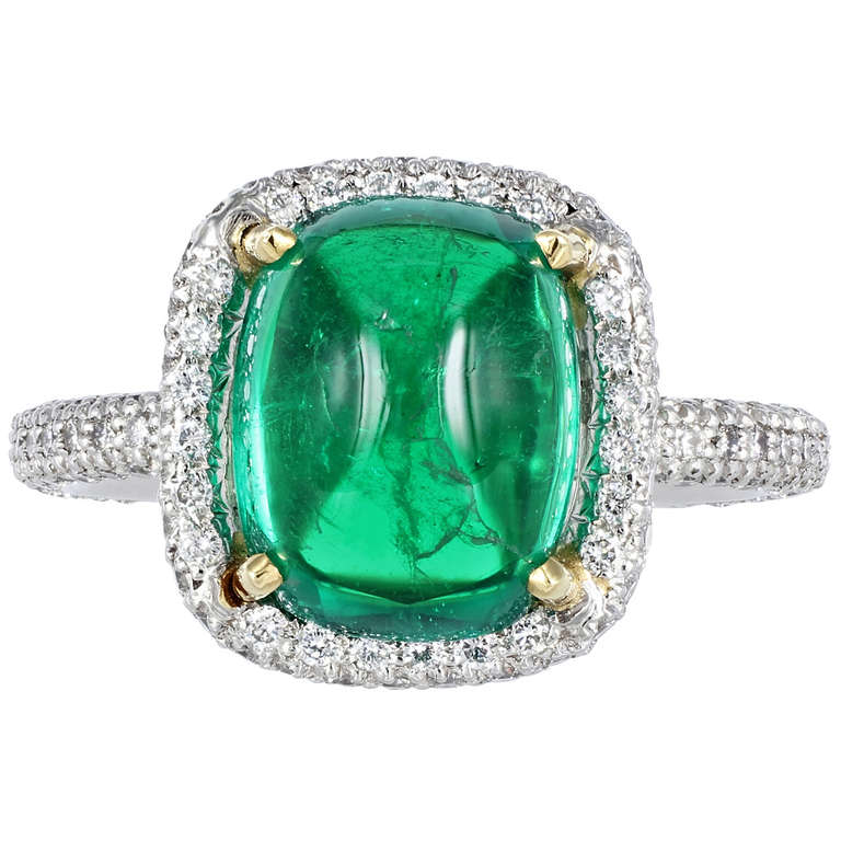 4.01 Carat Cabochon Columbian Emerald Diamond Solitaire Ring