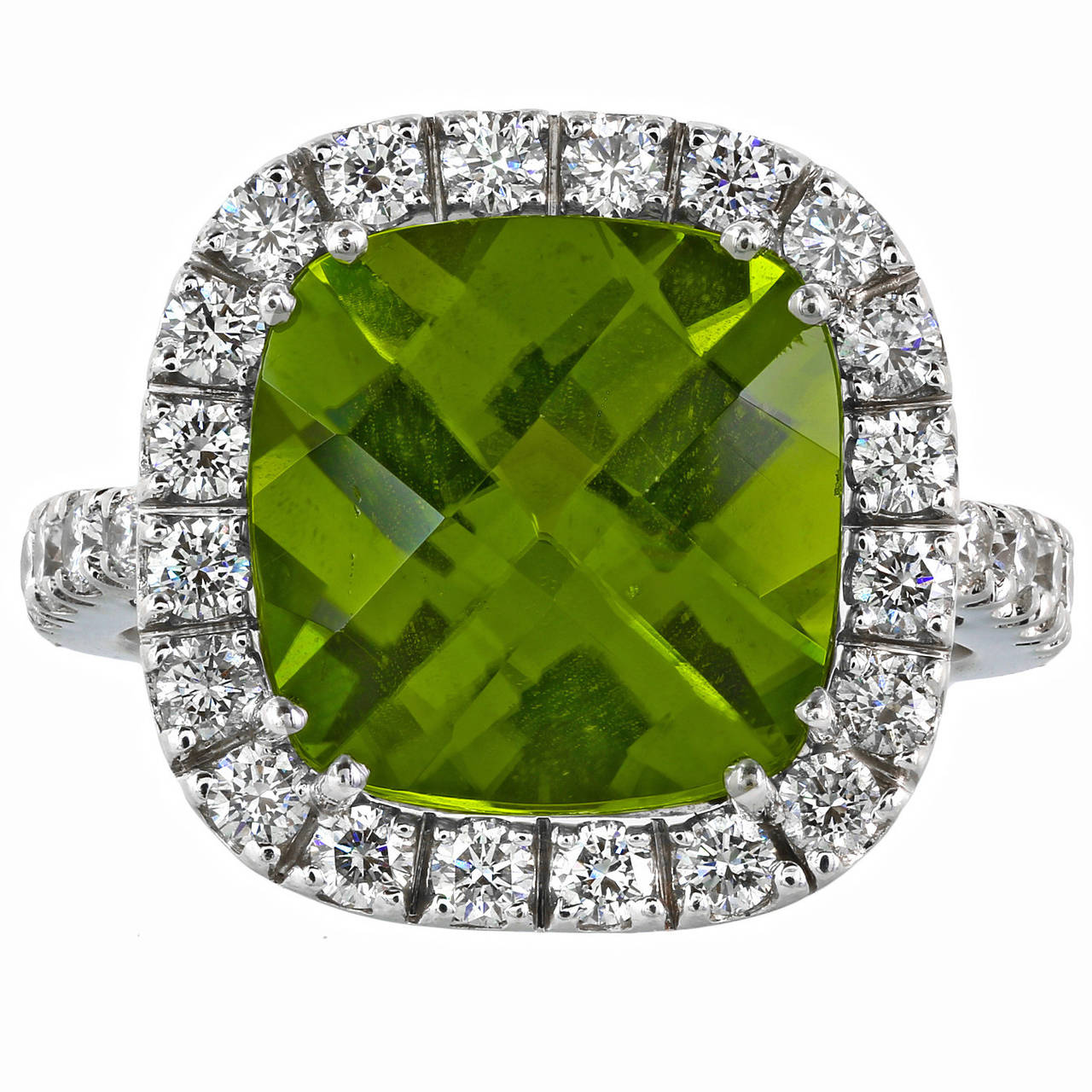 6.78 Carat Peridot Diamond Gold Cluster Ring