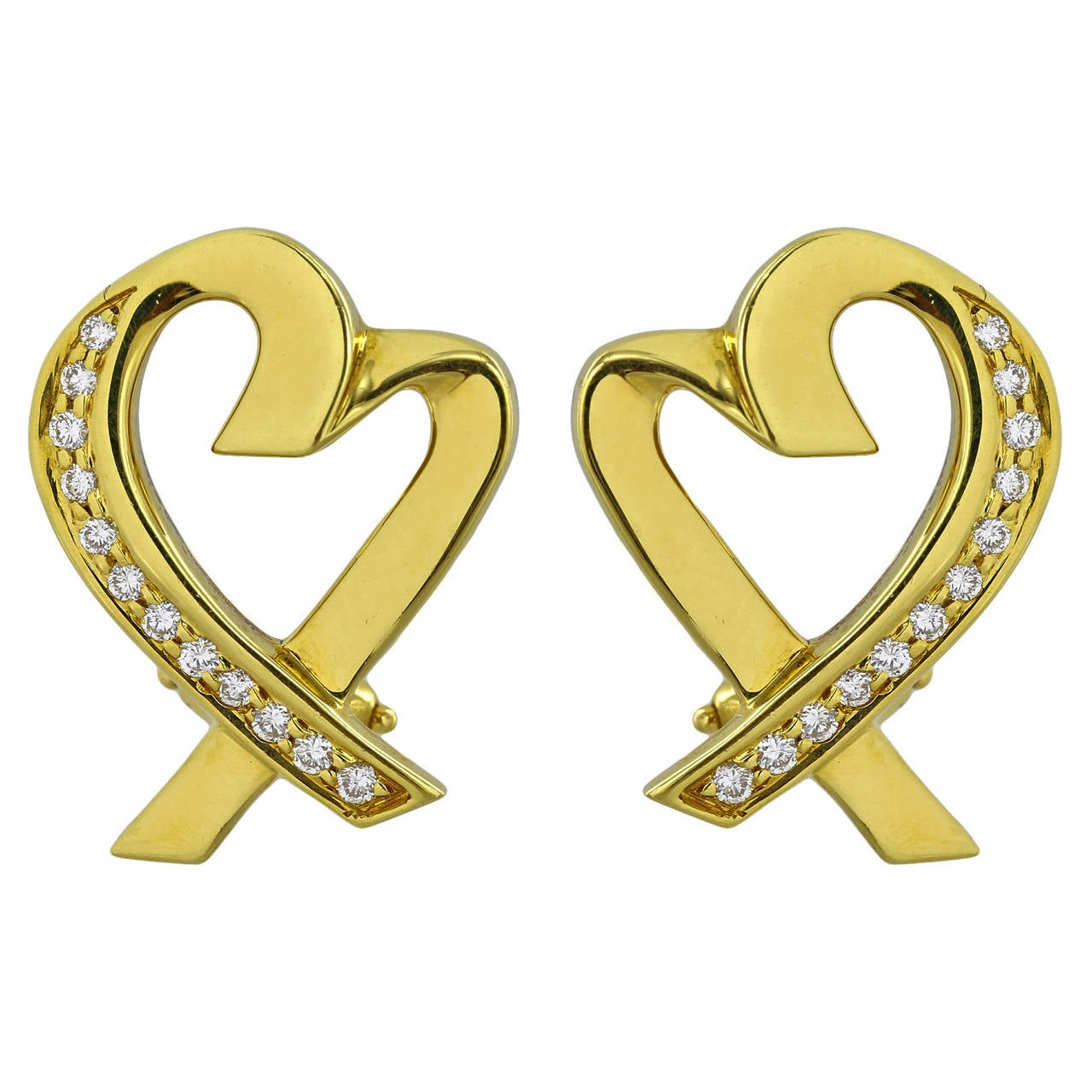 Tiffany & Co. Paloma Picasso Diamond Gold Heart Earrings