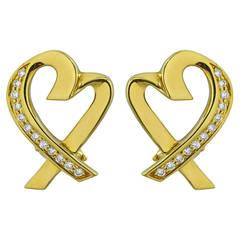 Tiffany & Co. Paloma Picasso Diamond Gold Heart Earrings