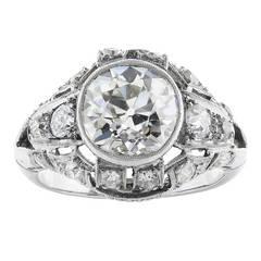 Art Deco 2.35 Carat Antique Cushion Cut Diamond Engagement Platinum Ring