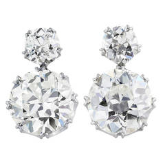 14.26 Carats Old European Cut Diamonds Gold Drop Earrings