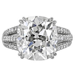 7.28 Carat Cushion Cut Diamond Platinum Ring