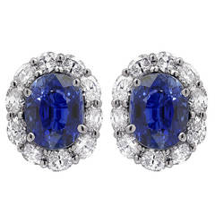 7.45 Carat Sapphire and Diamond Earrings
