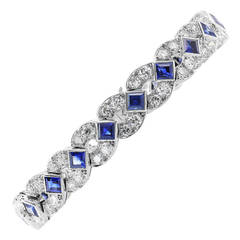 Art Deco Diamond, Sapphire and Platinum Bracelet