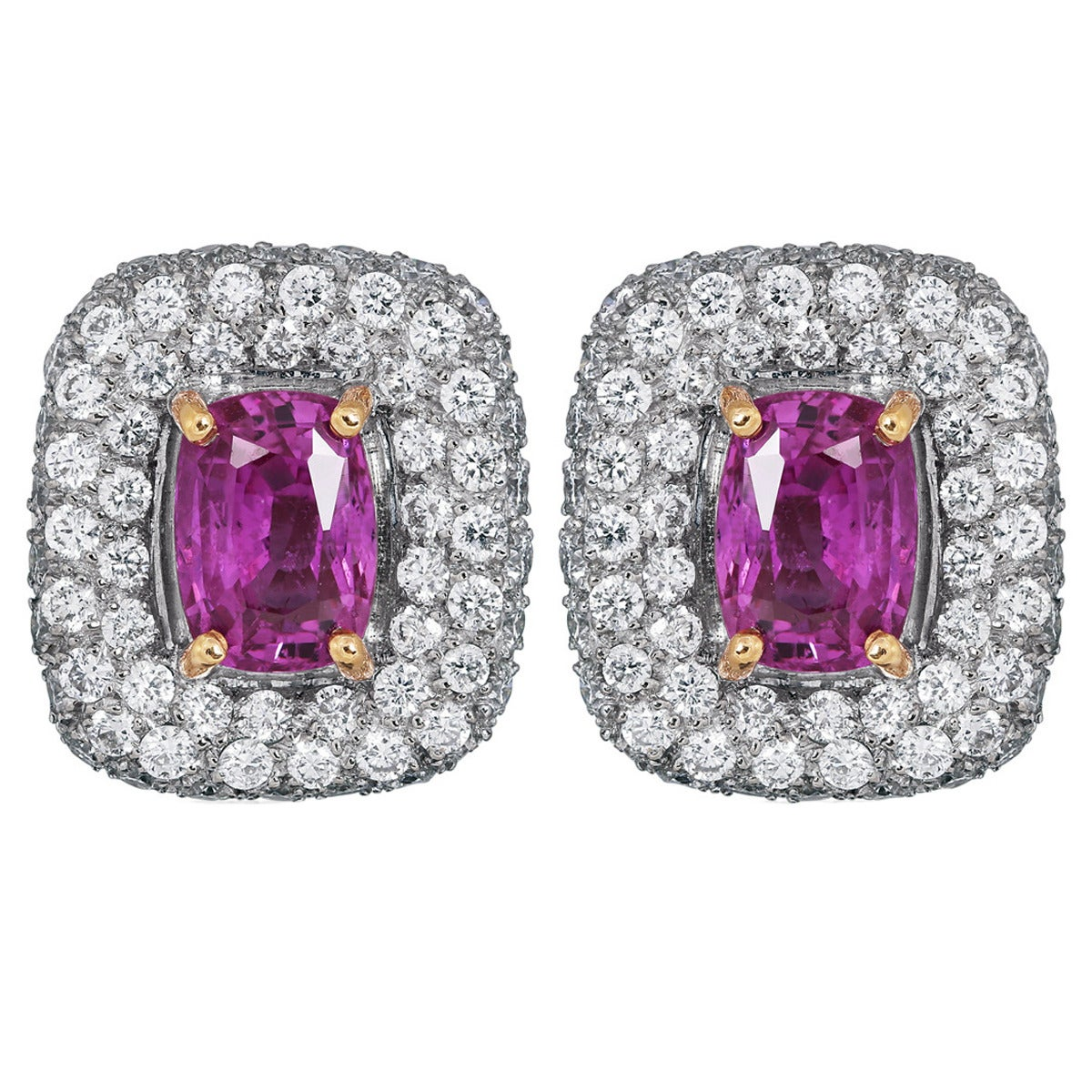 5.37 Carat Pink Sapphire and Diamond Earrings