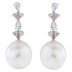South Sea Pearl and Pink Diamond Drop Earrings