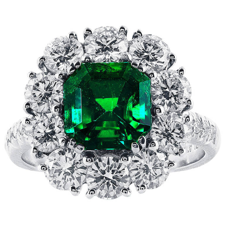 2.16 Carat Colombian Emerald and Diamond Cluster Ring For Sale
