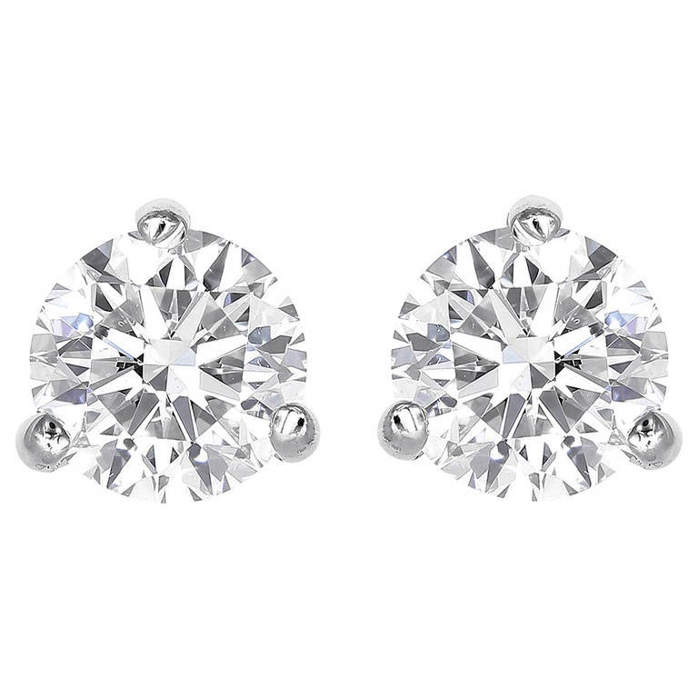 1.85 Carat Round Brilliant Cut Diamond Stud Earrings