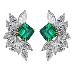 3.2 Carat Emerald and Diamond Cluster Earrings