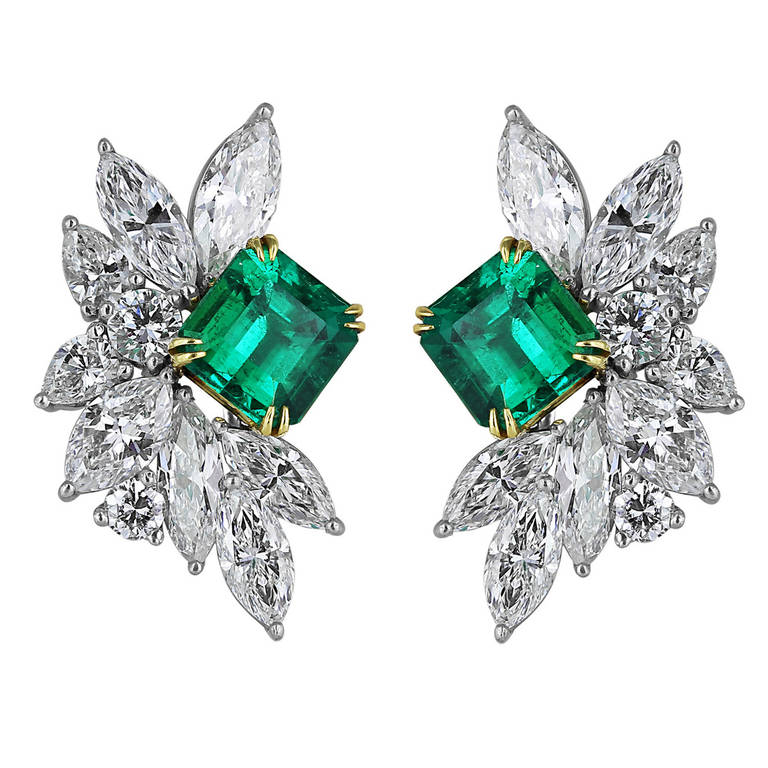 nigaam emerald and drop of picture baguette gold diamond earring earrings white